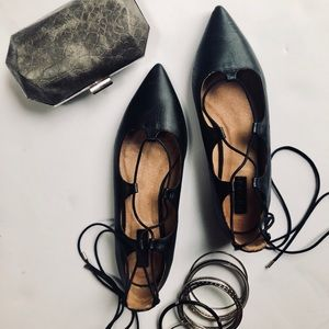 Topshop Leather Lace Up Flats